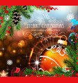 orange christmas ball with sparkles and fir vector image vector image