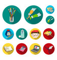 painter and drawing flat icons in set collection vector image