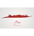 Paris V2 skyline in red vector image
