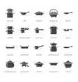 pot pan and steamer glyph icons restaurant vector image vector image