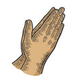 prayer hands gesture color sketch engraving vector image