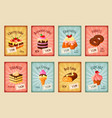 price cards set for bakery dessets vector image vector image