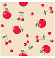 red apples and cherries on beige background vector image vector image