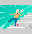 senior man falling from staircase art vector image vector image