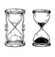 set 2 vintage sand hourglasses black and vector image vector image