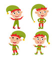 set of cute little christmas boys elf smiling vector image vector image