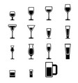 set of silhouette glass icons with water vector image