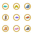 shoe icons set cartoon style vector image vector image