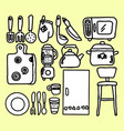 simple set cooking related line icons vector image