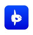 small fish icon digital blue vector image vector image