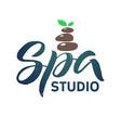 spa studio logo stroke green leaf vector image