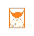 stylish sticker on paper hourglass and coins vector image vector image