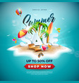 summer sale design with beach ball and exotic palm vector image vector image