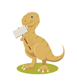 t-rex smiling with sign vector image vector image