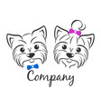 terrier logo boy and girl vector image vector image