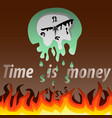the wall clock melts under the flames vector image vector image