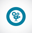 video camera icon bold blue circle border vector image