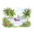 Watercolor Boat on river water vector image vector image