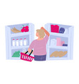 woman buying groceries choosing products in vector image vector image