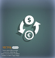 Currency exchange icon symbol on the blue-green vector image