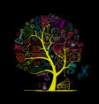 music instruments tree sketch for your design vector image