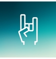 Rock hand thin line icon vector image