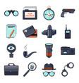 spy icons set cartoon style vector image