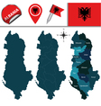 Albania map with named divisions vector image vector image