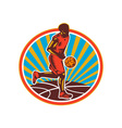 Basketball Player Dribbling Ball Woodcut Retro vector image vector image