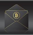 black envelope with bitocin sign vector image vector image