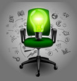 business chair with green light bulb on hand vector image vector image