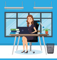 businesswoman sitting in the office vector image