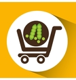 cart buy vegetable pea icon vector image vector image