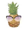 cartoon pineapple in glasses colorful print vector image vector image
