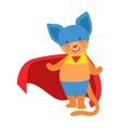 Cat Animal Dressed As Superhero With A Cape Comic vector image