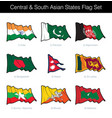 central and south asian states waving flag set vector image