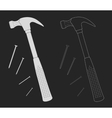 Claw hammer with steel nails Chalk vector image vector image