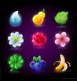colorful fruit and flowers slots icon set vector image vector image