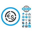 Currency Diagram Flat Icon with Bonus vector image vector image