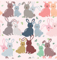 cute bunny in colorful tone seamless pattern vector image vector image