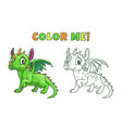 cute cartoon green dragon vector image vector image