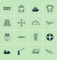 delivery icons set with railway tram air balloon vector image vector image