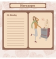 Diary or note pages with of young vector image