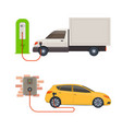 electric vehicles on charge vector image