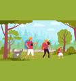 family hiking travelers hike kids trekking vector image vector image
