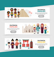 flat multiracial people horizontal banners vector image vector image
