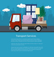 flyer truck is transporting furniture vector image vector image