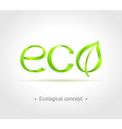 Green word Eco with leaf on gray background vector image vector image