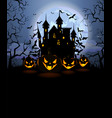 halloween background with scary pumpkins and vector image vector image