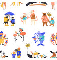 happy cartoon wild animal family characters vector image